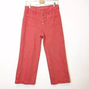 American Eagle Pink Wide Leg Crop Jeans